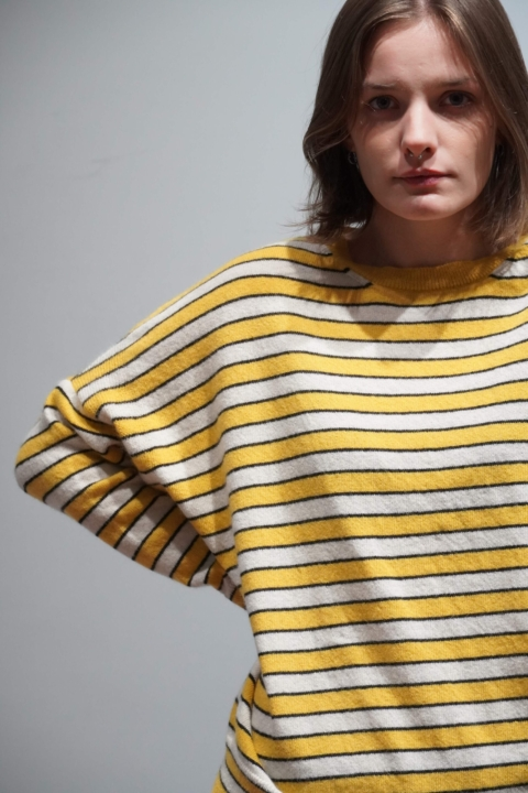 Spazio Marzio/ Casa Nodo – maglia righe panna e giallo