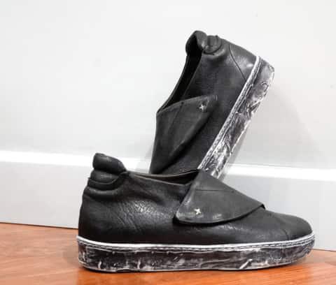 Gordon – sneackers pelle nero con velcro