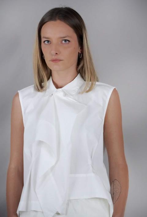 Industrial – Camicia con volant bianca